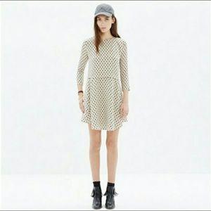Madewell Silk Tee Dress in Dot, S